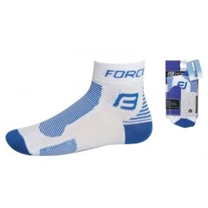 Cyklistické ponožky FORCE1 - bílo-modré