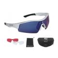 Brýle Force Race stříbrné - modrá skla
