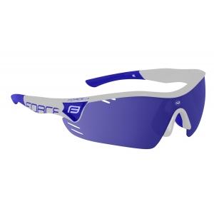 Brýle FORCE RACE PRO bílé, modrá laser skla