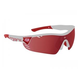 Brýle FORCE RACE PRO bílé, červená skla