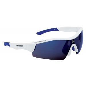 Brýle FORCE RACE bílé, modrá laser skla